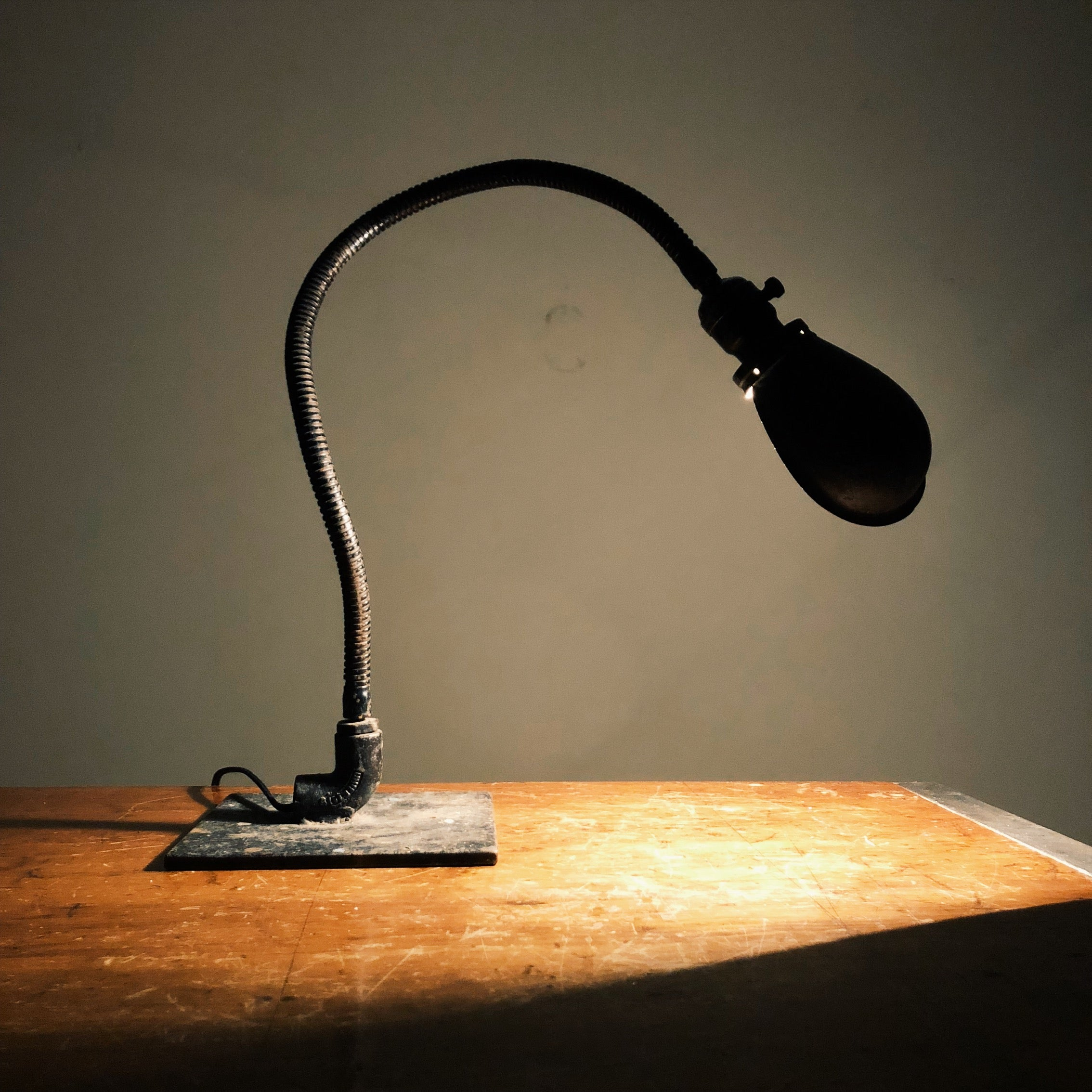 Industrial Machinist Table Lamp with Hubbell Shade