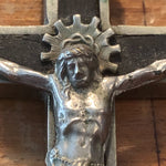 Antique Nickel Crucifix with Skull and Crossbones - Vintage Inlay Cross - Priest Nun - Inri Religious Decor - Gothic Wall Hanging