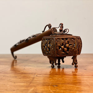 19th Century Yatate Inkwell and Pen Holder - Bronze Japanese Antiques - Rare Writing Collectible - Asian Decor - Opium Pipe Attribution - Chinese Artifact