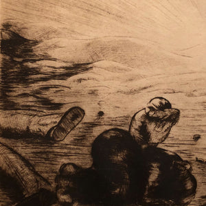 Nils P. Larsen Drypoint Etching of War Scene