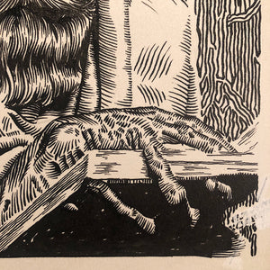 Vintage Illustration Art of Man in Cloak with Creepy Fingers - 1958