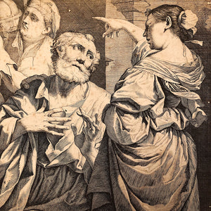 Giovanni Battista Dotti Engraving for Sale The Denial of St. Peter - 1670 - After Lorenzo Pasinelli - Rare Early Etching - 17th Century
