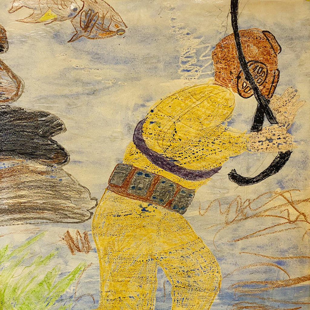 "Wilbur T. Bruce Painting on Cardboard - African American Outsider Art - Nautical Sea Diver - 1970s - 28"" x 22"" - Rare Vintage Brute Artwork"