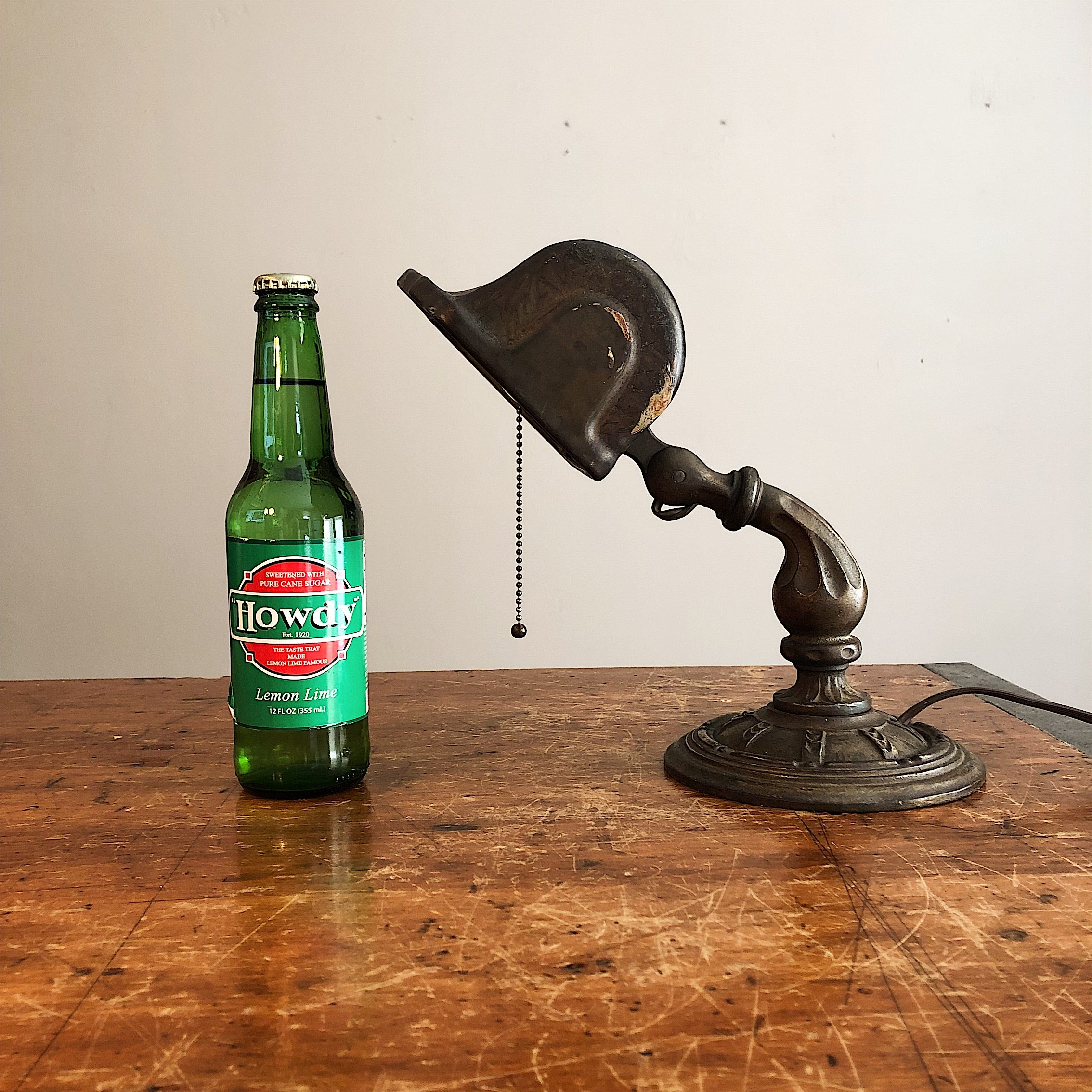 Scale for Rare Aladdin Lamp with Ornate Cast Iron Base - Antique Industrial Decor - Vintage Lighting - 1920s Table Lamp