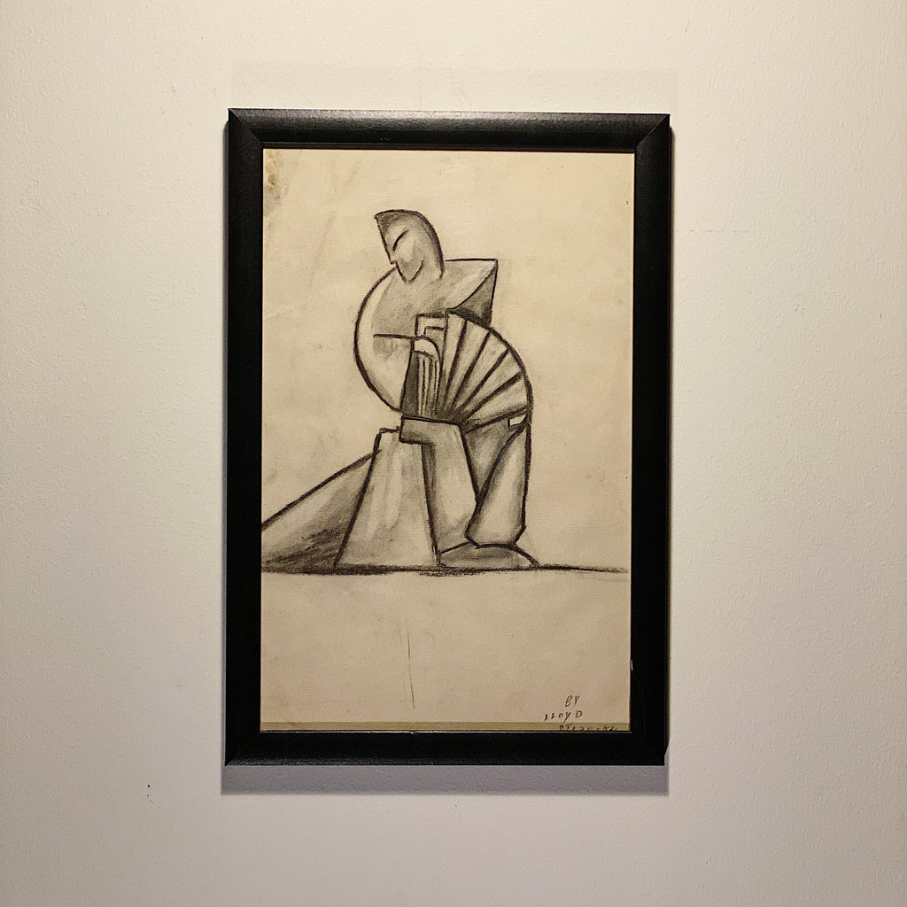 WPA Era Charcoal Drawing of Modernist Figure - Signed Lloyd Stransky - Minnesota Artist - WW2 period - Cubist Style - Industrial Decor