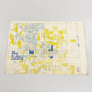 "Rare 1920s Oil Field Map with Hand Painted Land Rights Grids - Louis W. Hill Estate - 53"" x 37"" - Huge Wall Art - Data Visualization"