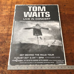Tom Waits Concert Poster from 1999 - Get Behind the Mule Tour - Toronto Canada Shows - Rock Memorabilia