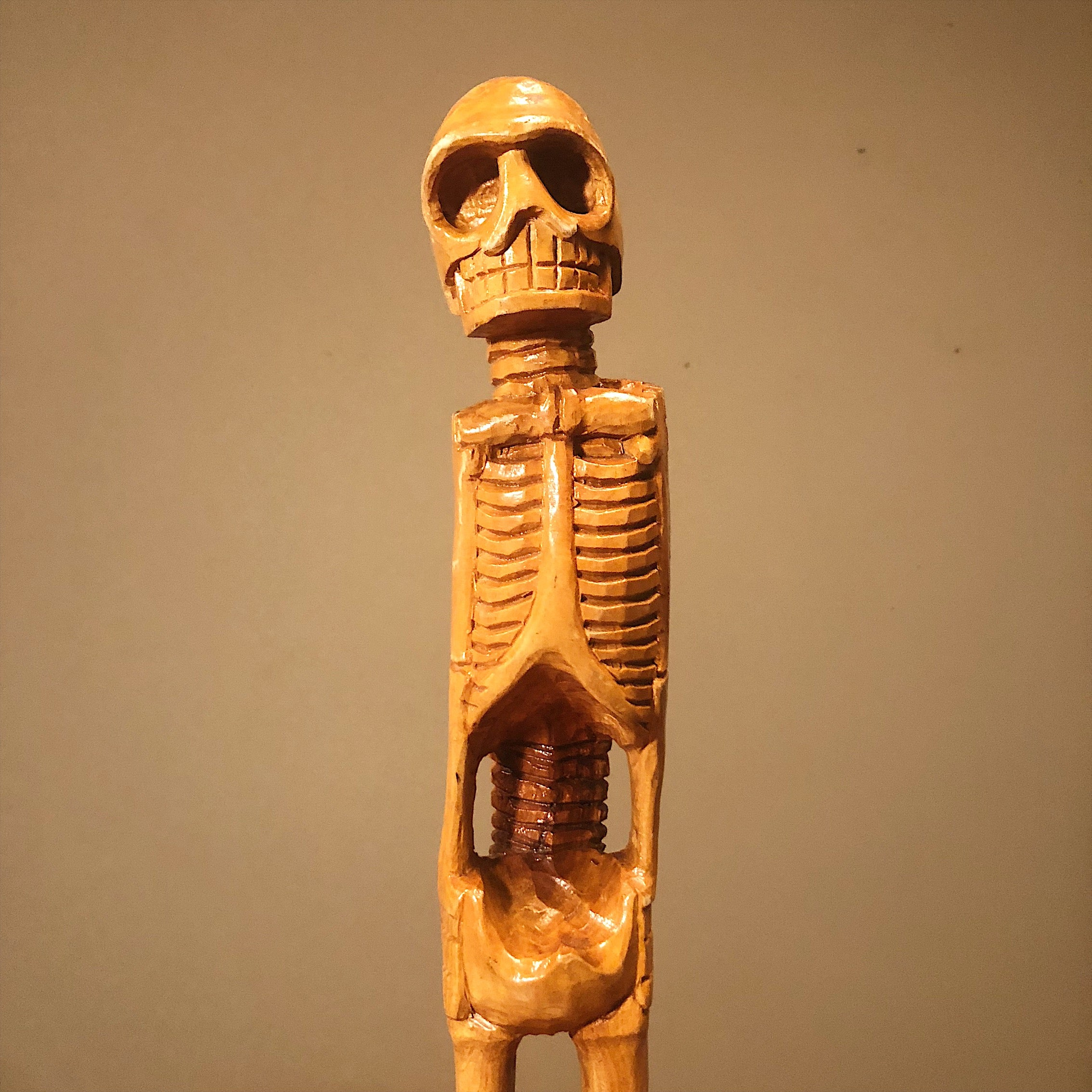 Vintage Skeleton Wood Sculpture and Skull