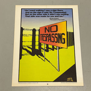 Minneapolis Rare Political Lithograph Poster by Rich Kees - No Trespassing - 1980s Minnesota Artist - Woody Guthrie - Progressive Artwork - Historical