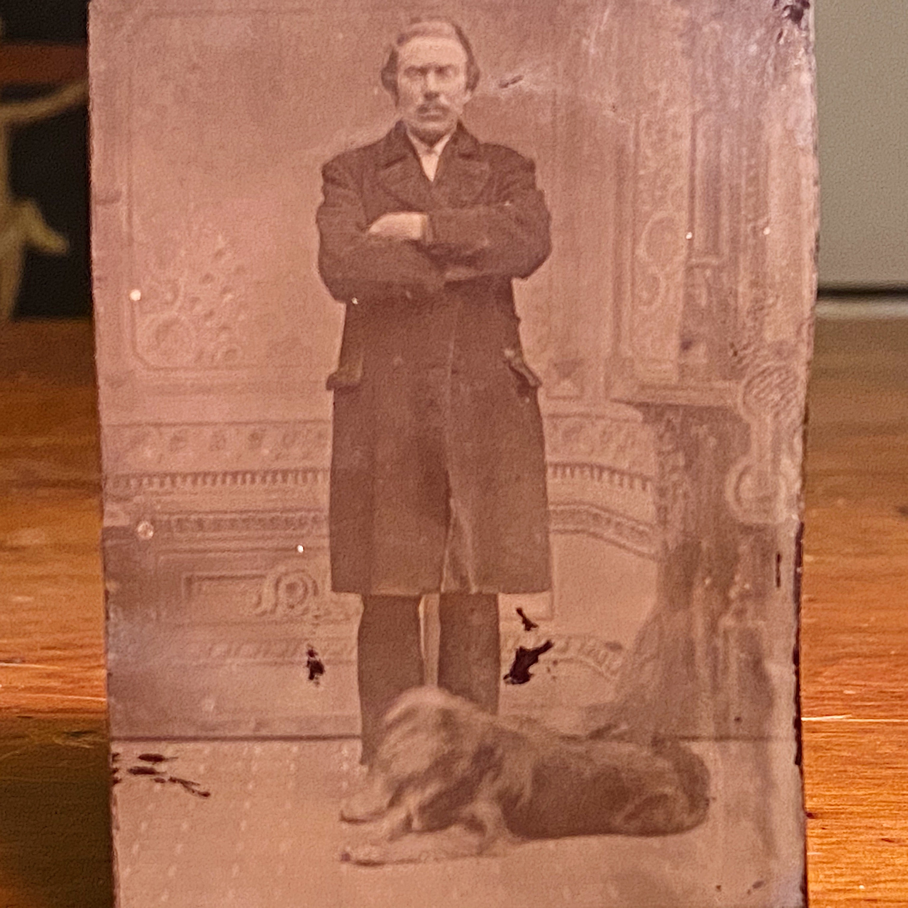 Antique Tintype of Serious Man and Dog - Rare Pet Photography - Unusual Late 1800s Photograph - Gangster? - Underground Image Weird