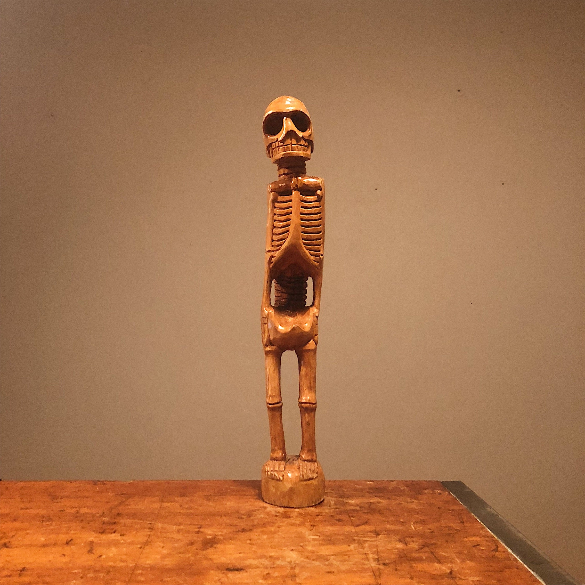 Vintage Skeleton Wood Sculpture