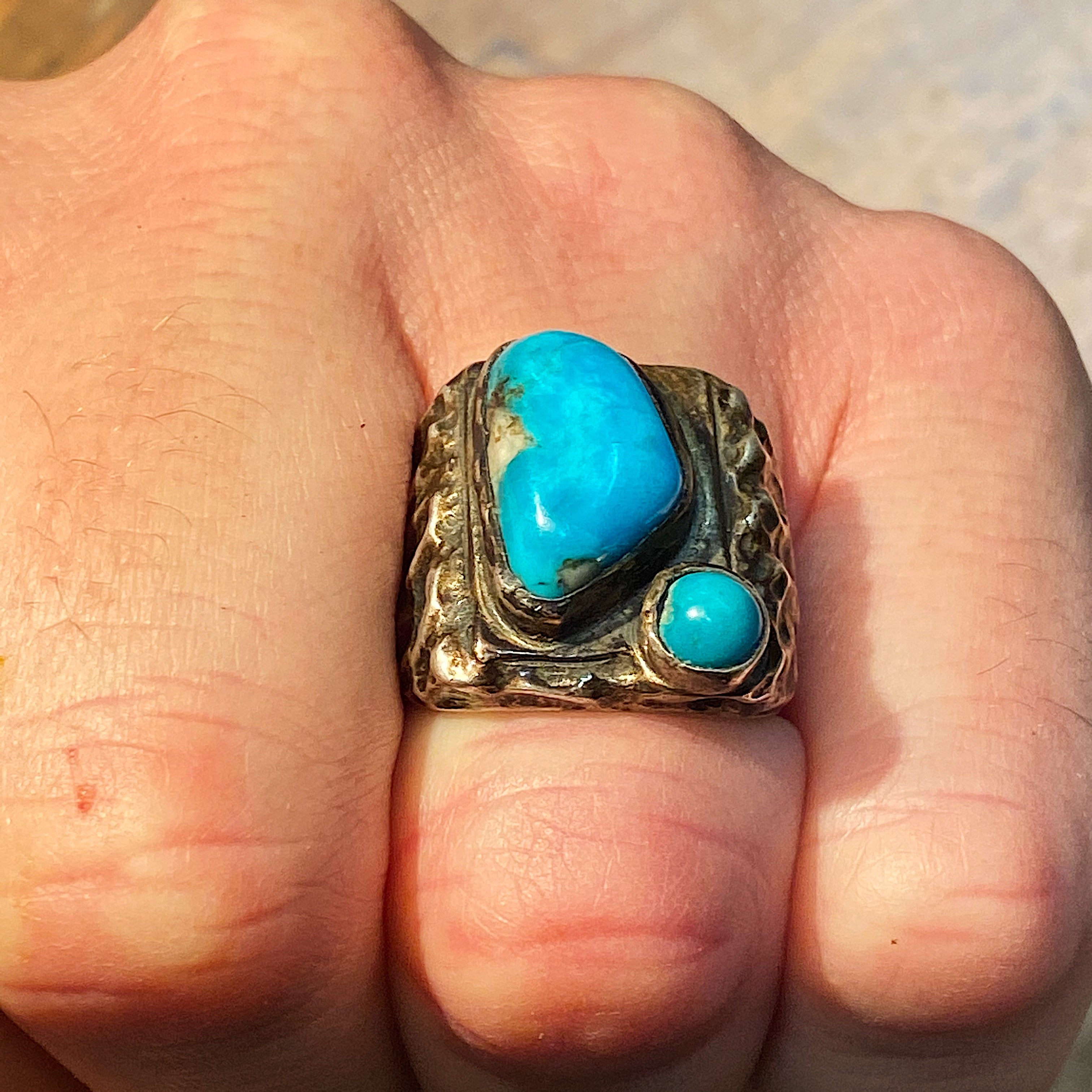 Vintage Dead Pawn Turquoise Biker Ring | Size 9