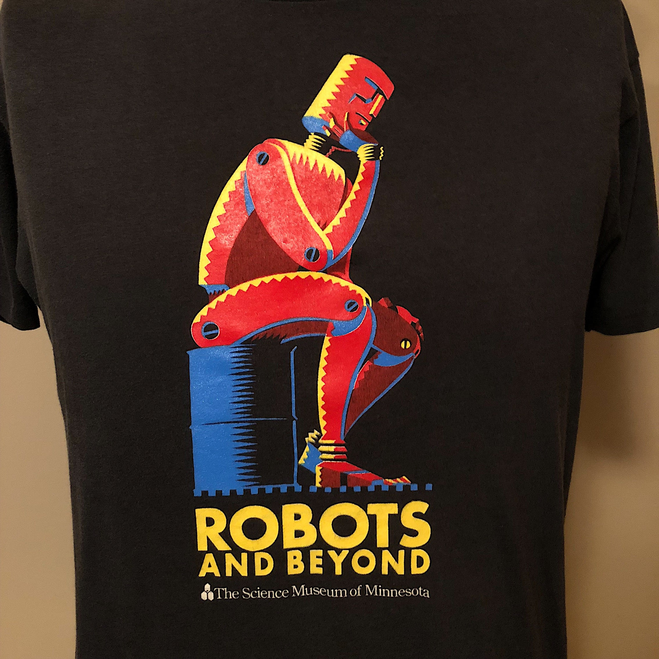 "Robot T-Shirt from Science Museum Exhibition - Black XL - ""Robots and Beyond"" - 1988- Vintage Sci-Fi Graphic - Steampunk - A.I."