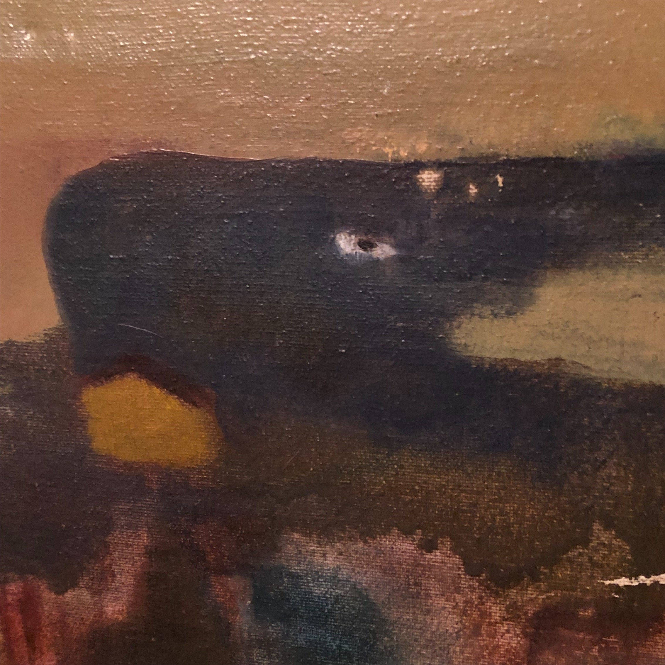 Close up of Vintage Surreal Painting from 1960s - Outsider Art - Christopher Charles - Surrealist Landscape Scene - Rare Unusual Artwork