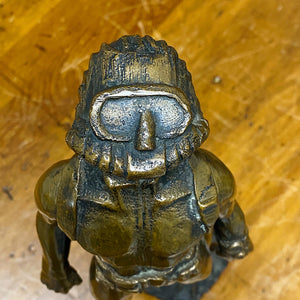 "Face of Scuba Diver Bronze Sculpture from 1973 - Signed by Mystery Artist - 14"" tall - Rare Nautical Sculptures - Vintage Deep Sea Collectible"