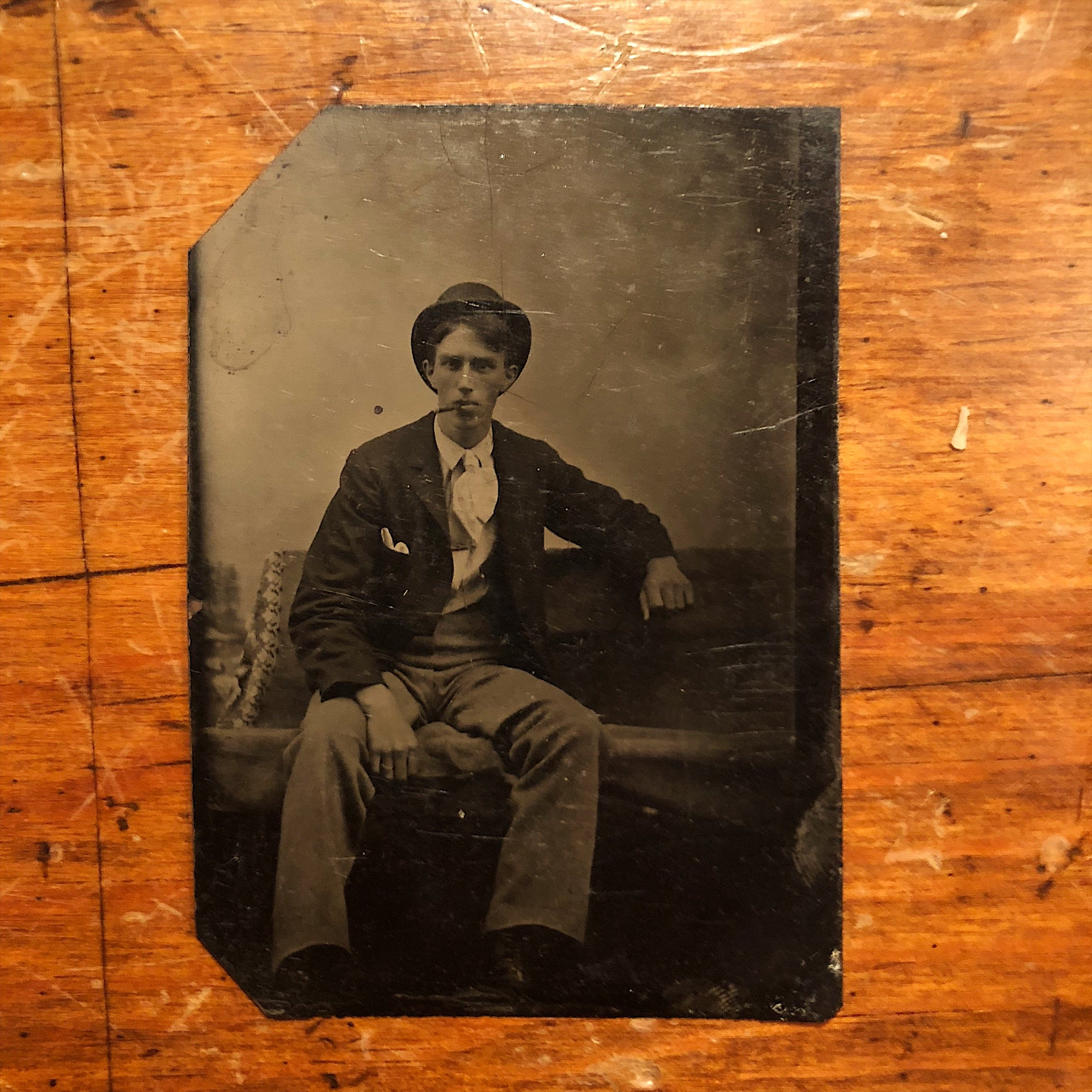Antique TinType of Dapper Gentleman Smoking a Cigar 1800s