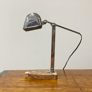 Sideview of 1930s French Chrome Articulating Desk Lamp with Marble Base - L'Artisanat Francais - Art Deco Paris France - Makers Mark - Antique Lighting