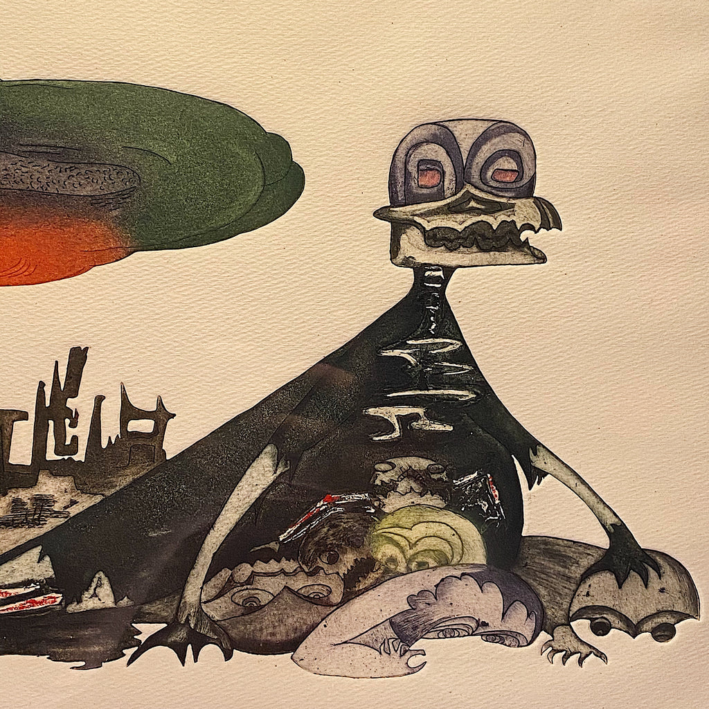 Monster from Guillermo Silva Santamaria Engraving in Color from 1960 -  Ahora Hay Para Todos - Surreal Scene - Apocalyptic Vision - Rare Surrealist Art
