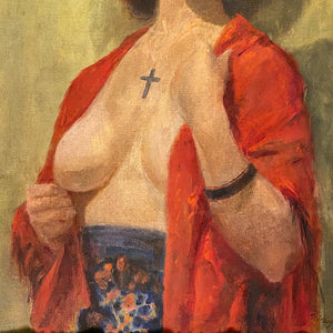 WPA Era Painting of Nude Woman with Crucifix | 1942