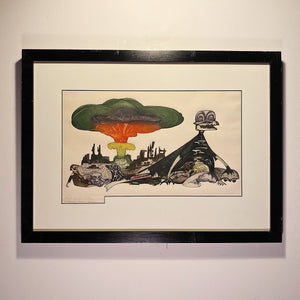 Guillermo Silva Santamaria Engraving in Color from 1960 -  Ahora Hay Para Todos - Surreal Scene - Apocalyptic Vision - Rare Surrealist Art