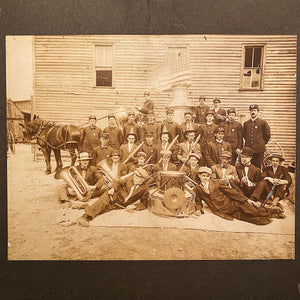 Antique Firemen Photograph - Early 1900s Firefighters Posing with Flag - Horse Drawn Fire Engine - Unusual Old Photography - Rare Image Cool