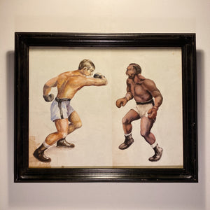 Rare WPA Era Painting of Boxing Match - 1930s? - Mystery Artist - Watercolor on Paper - Antique Sports Artwork - Depression Era Art - Rare