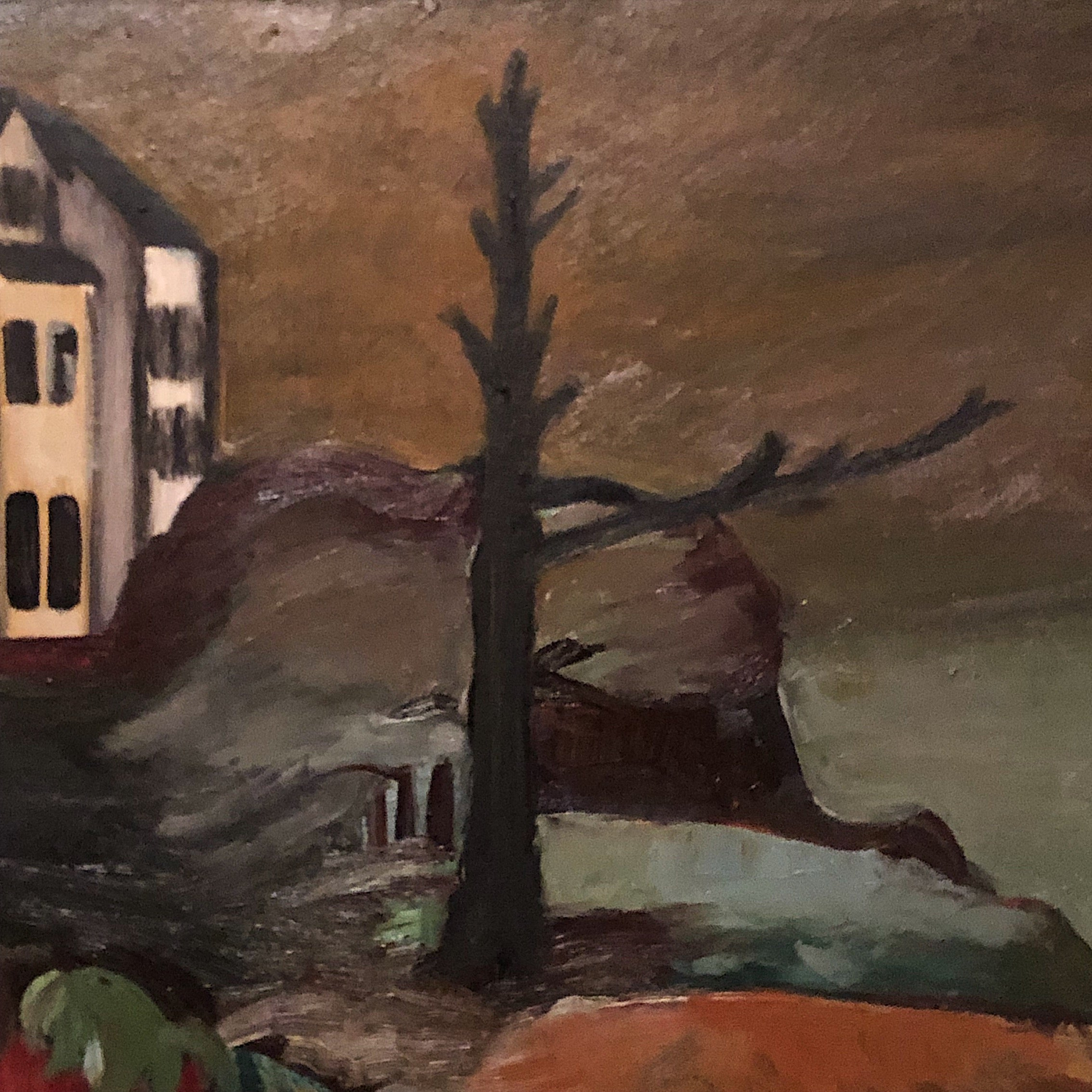 WPA Era Painting of Waterfront Landscape - New Deal - Large Oil on Canvas - Depression Era - 43 x 29