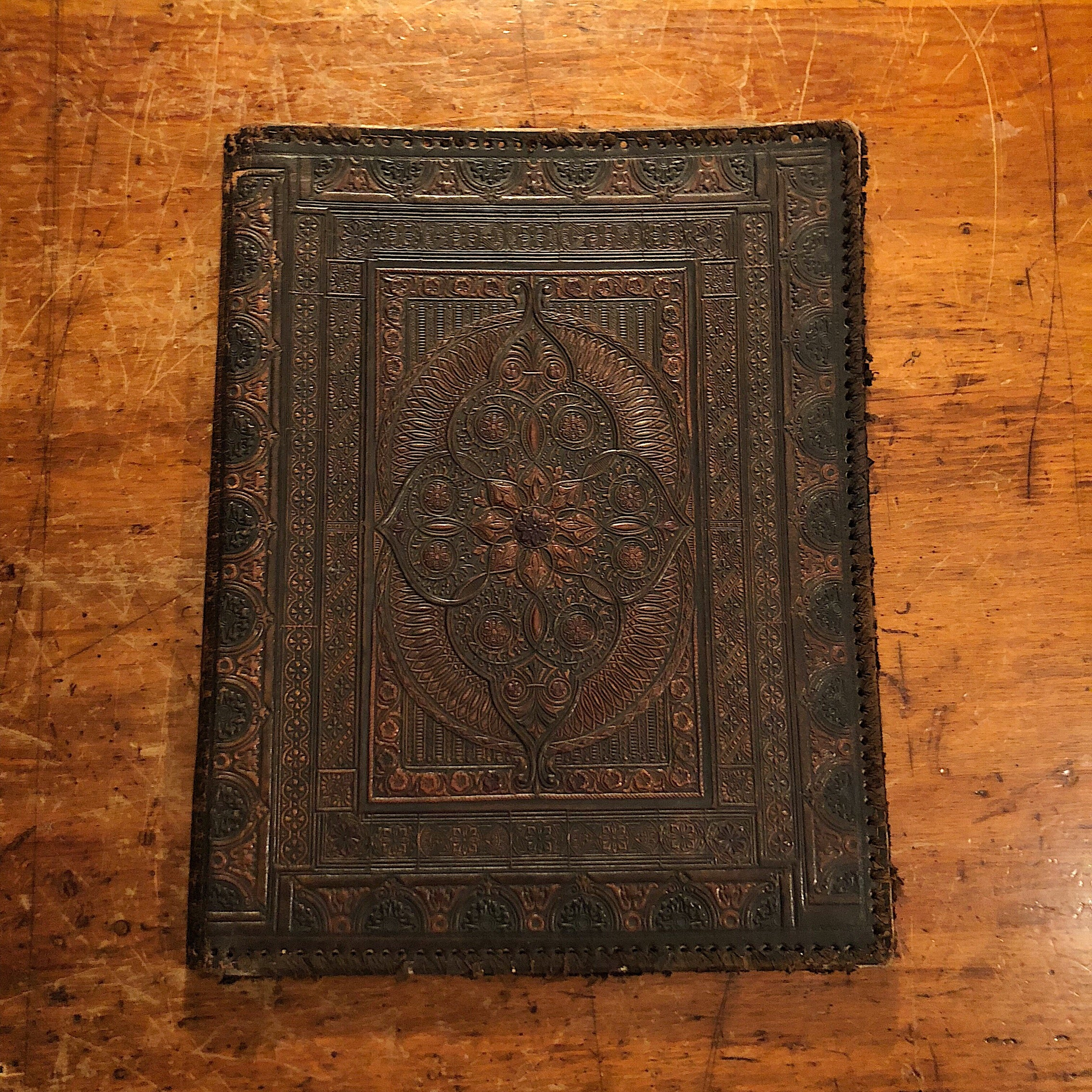 Antique Leather Portfolio Cover with Tooled Ornate Design - Continental School Manuscript Cover - Arts and Crafts - 19th Century