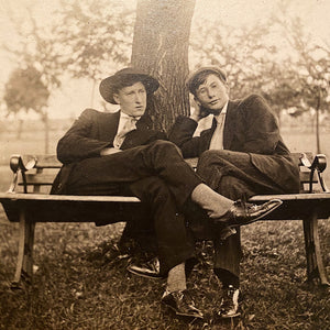 Antique Photograph of 2 Gents Lounging on a Bench - Early 1900s - Rare Unusual Scene - Oscar Wilde - Silver Gelatin Print