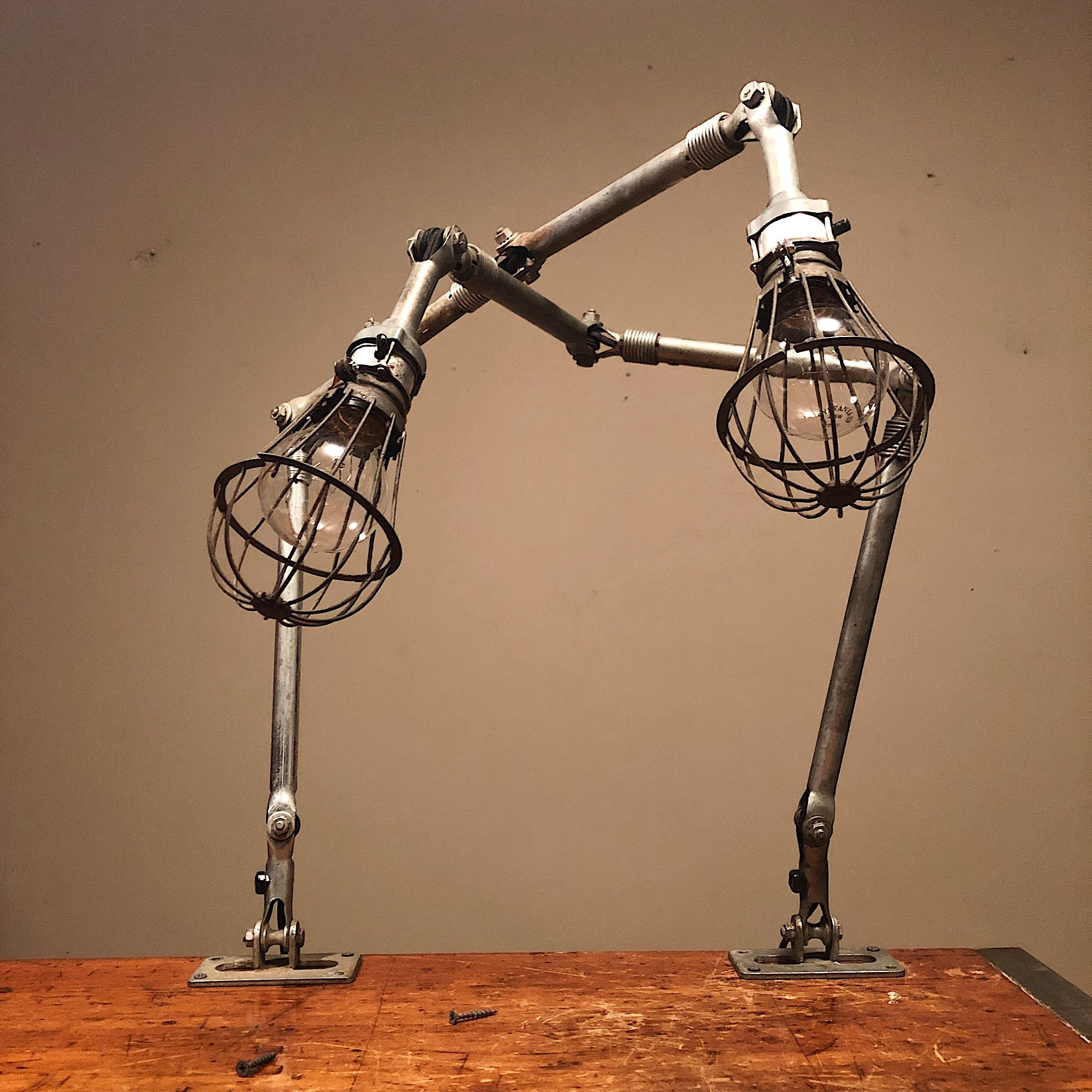 Vintage Ajusco Loc Industrial Task Lights - Set of Articulating Lamps with Cage Protectors - 1950s - Industrial Decor - Machinist