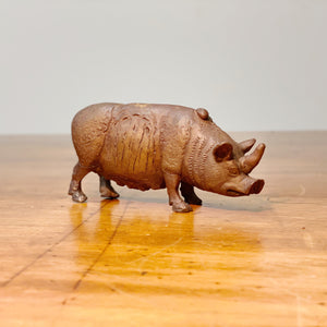 Iowa Art Stephen Maxon Bronze Rhino Pig - 1991 - Signed and Dated - Rare Original Artist Sculpture - Surreal Art - Folk Art - Outsider - Iowa Artist