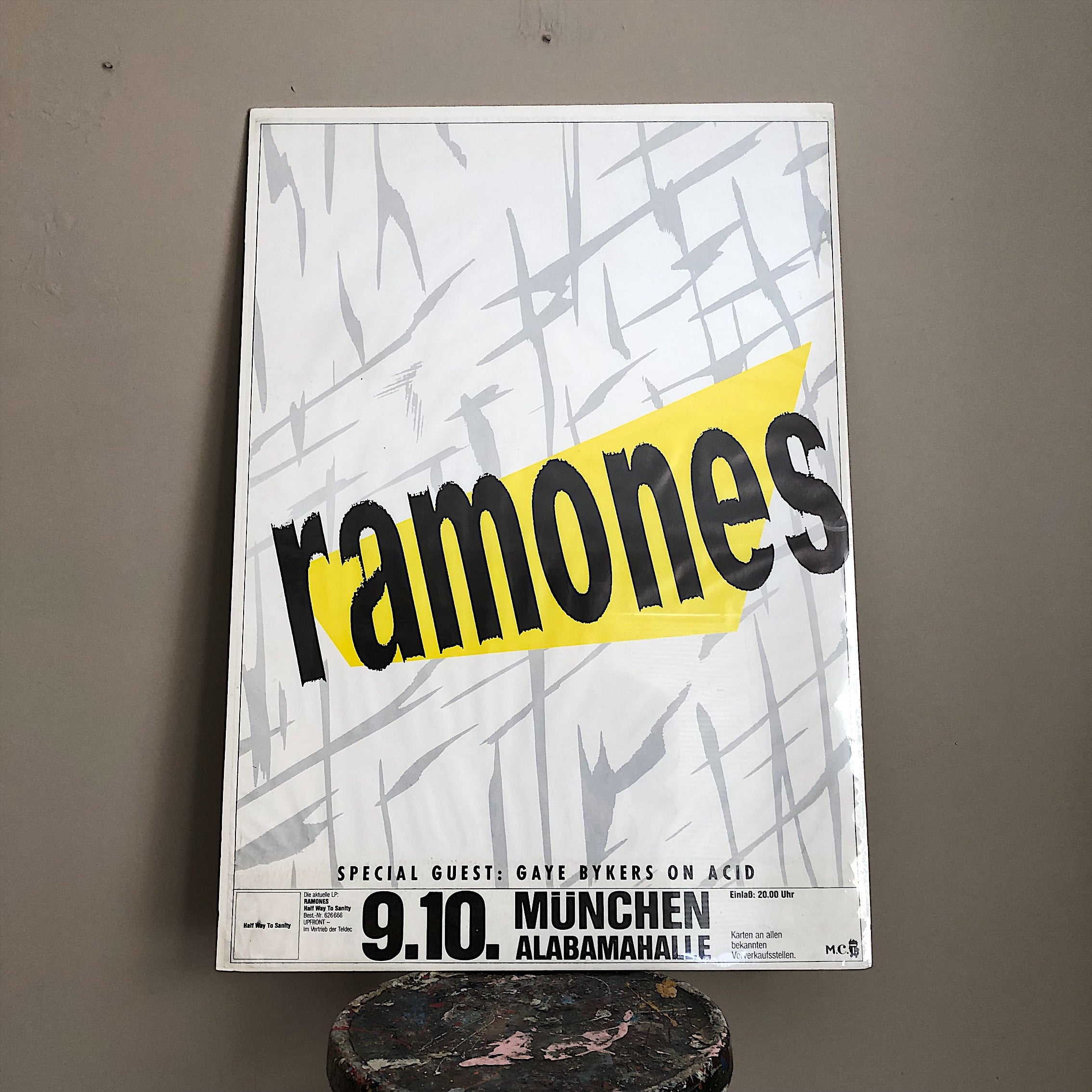 Rare Ramones Concert Poster from Munich Germany 1987 - Punk Rock Memorabilia - Rock Posters - Half Way to Sanity