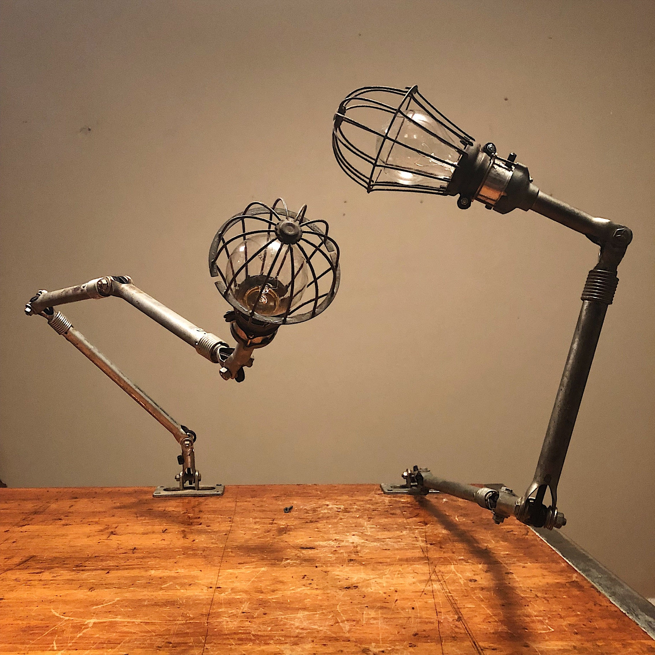Vintage Ajusco Loc Industrial Task Lights - Set of Articulating Lamps with Cage Protectors - 1950s - Industrial Decor - Machinist Rare