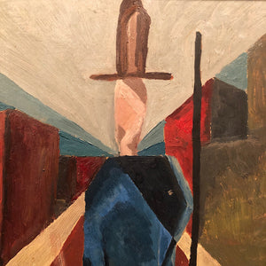 Cubism Artwork for Sale - Antique Cubist Painting from 1930s - Marshall Field's Picture Gallery Art - Oil on Masonite - Rare Unusual Artwork