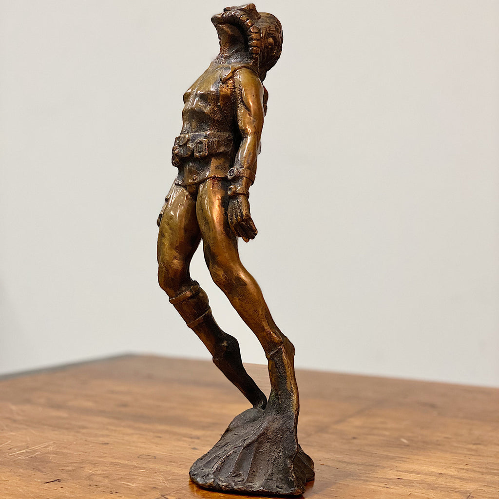 "Scuba Diver Bronze Sculpture from 1973 - Signed by Mystery Artist - 14"" tall - Rare Nautical Sculptures - Vintage Deep Sea Collectible"