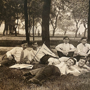 Antique RPPC of White Steamer Group on Campus - Early 1900s Unusual Postcard  - College Students Lounging - Strange Vintage Postcards