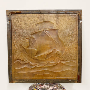 Arts and Crafts Metal Relief of Ship |  Local Purchase Only