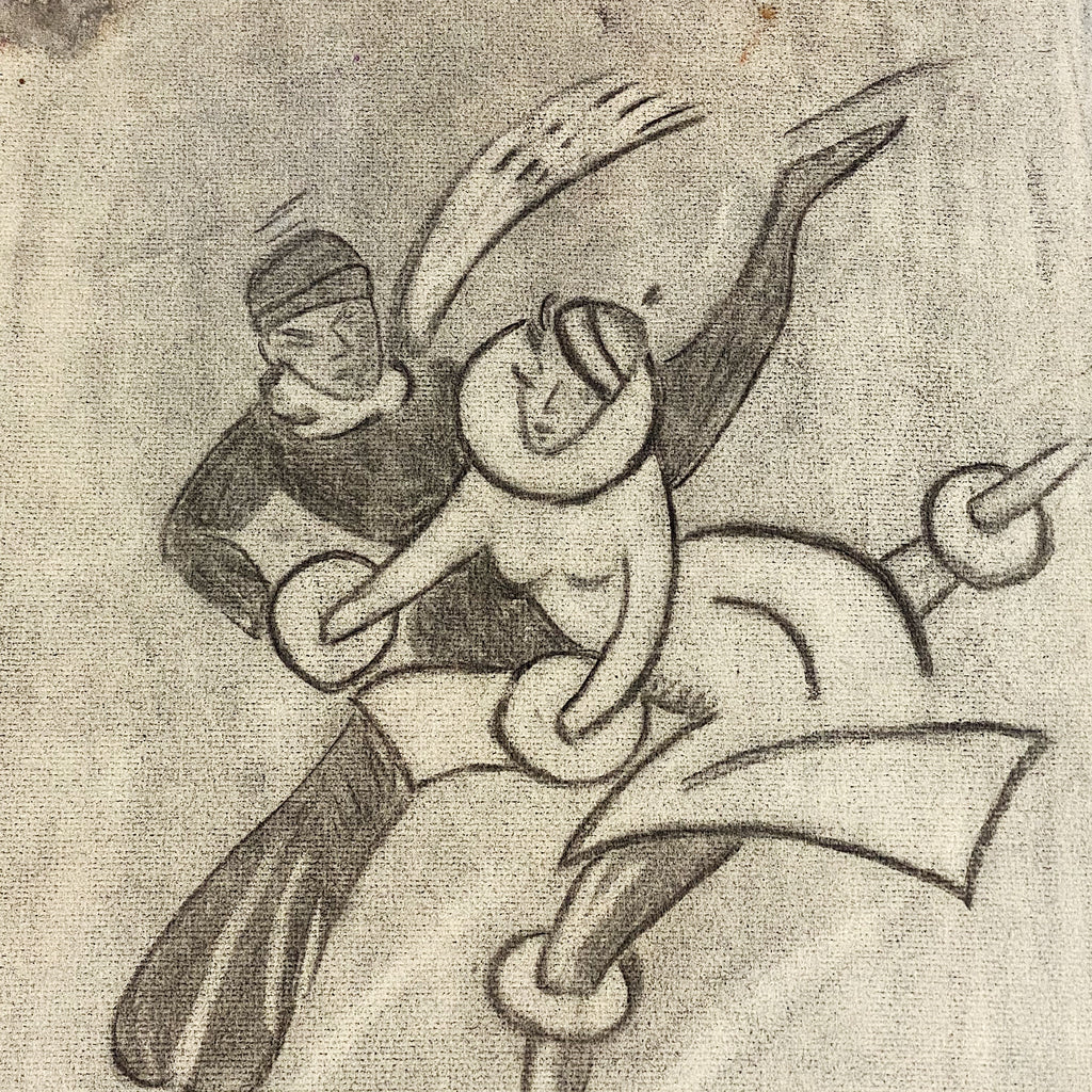 Modernist Charcoal Drawing of Couple Ice Skating | 1940s