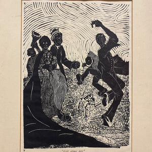 Zondi Chipa Linocut Print  |  Rare 1980s South African Artwork