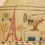 John Beauchamp Child Drawings from 1932 - Rare Depression Era Artwork - Set of 2 - Listed Artist - Eiffel Tower - World War Planes  Folk Art