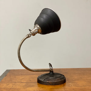 High view of Vintage Articulating Desk Lamp with Unusual Shade - General Electric - Rare Art Deco Light - Decor - Black and Tan - Antique Lighting
