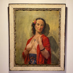 "WPA Era Painting of Nude Woman with Crucifix and Flower - 1942 - Signed Hagstrom - 20"" x 24"" - Rare Unusual Wall Art - Oil on Board"