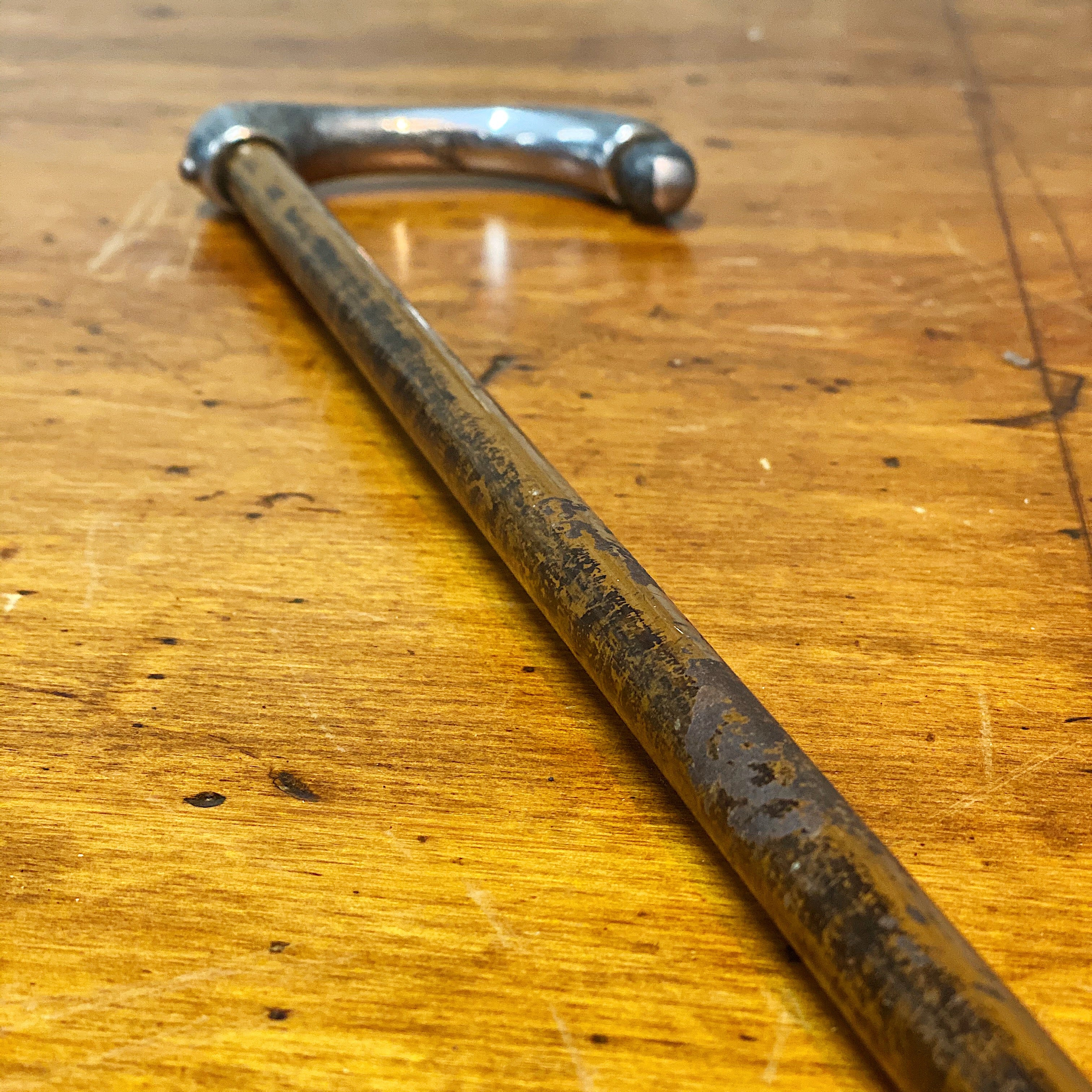 Antique Deco Walking Cane | 1920s Unusual Metal Folk Art
