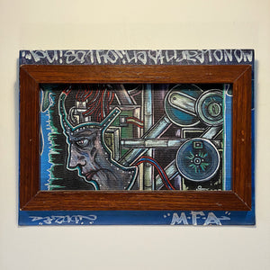 Rare Street Art Painting on Canvas Board - Tagged - 1990s? - Mystery Artist - Surreal Industrial - Learn to Enjoy Losing - Hunter S. Thompson
