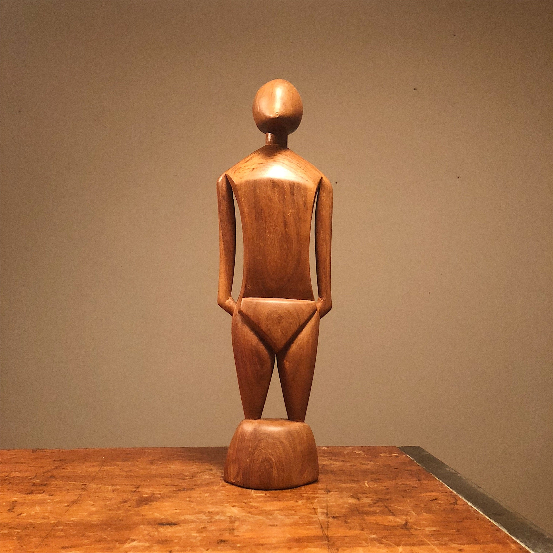 Unusual Mod Wood Sculpture of Human Form from 1950s