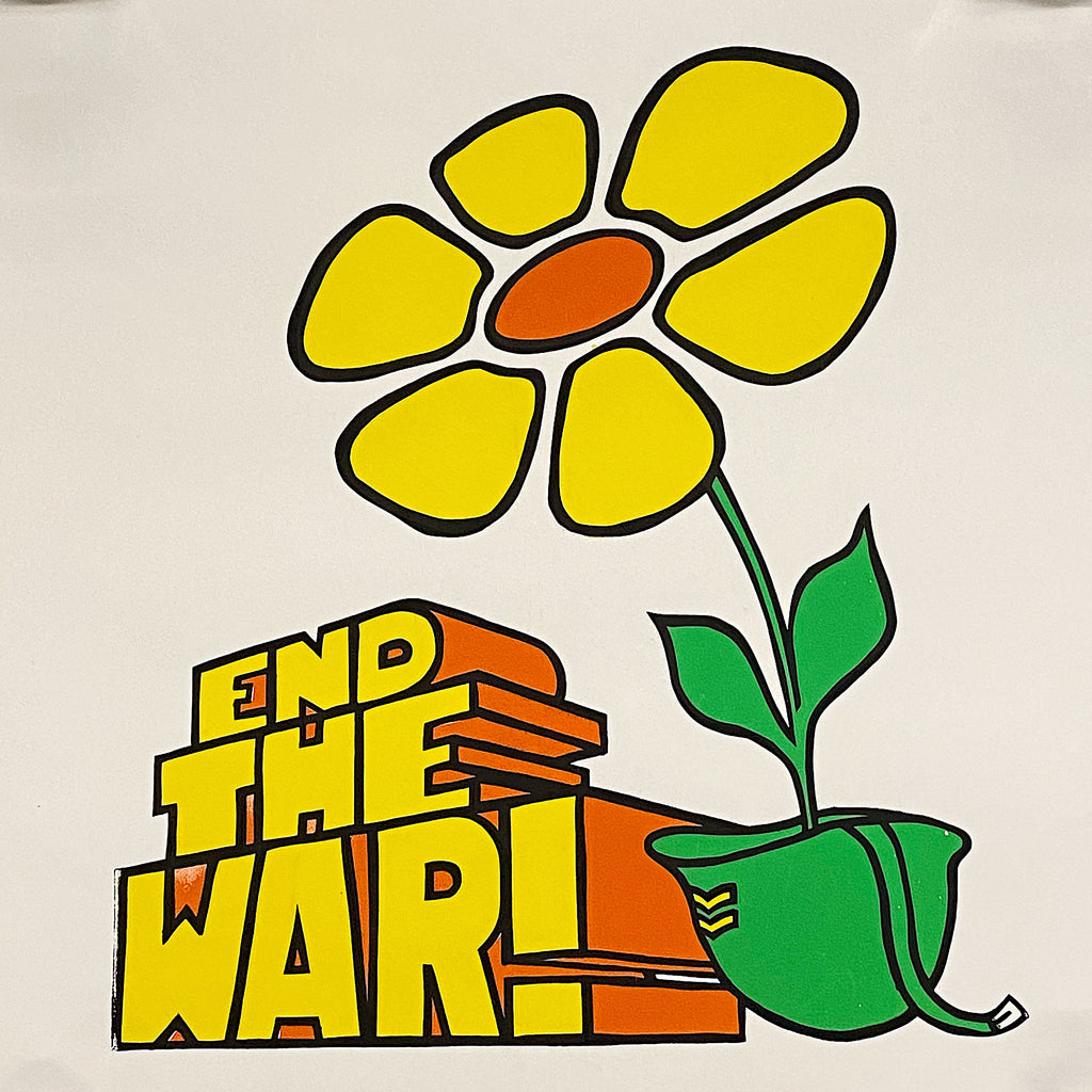 Rare Moratorium Protest Poster from late 60s - End the War! - Work for Peace - Vietnam Posters - Flower in Helmet Design - Stylized Artwork