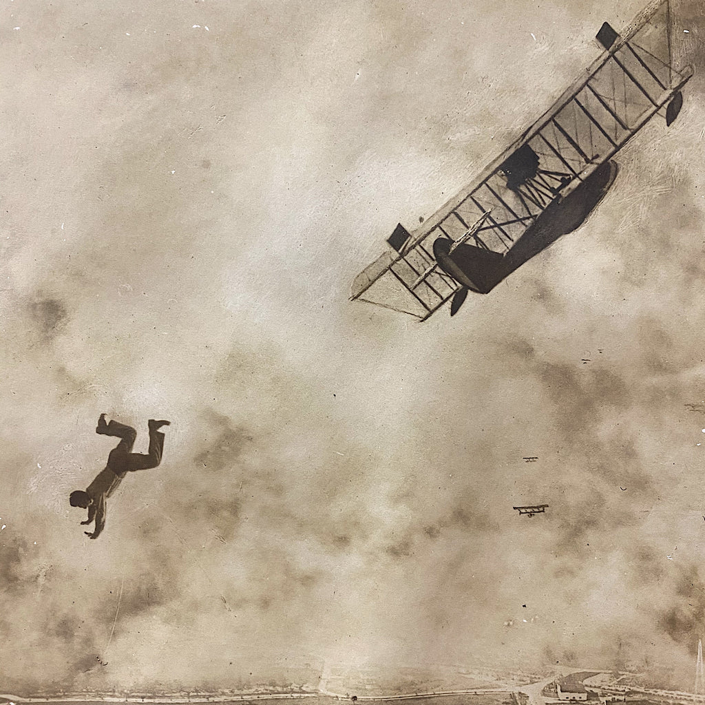 Antique Photograph of Man Falling from Plane - 1918 - Silver Gelatin Print - Miami Florida - Rare Daredevil Photography