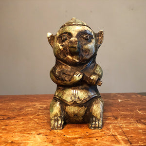 "Chinese Jade Sculpture of Pig Figure - Unusual Asian Artwork - Signed on Reverse - Mystery Artist - 6"" Tall - Collector's Estate"