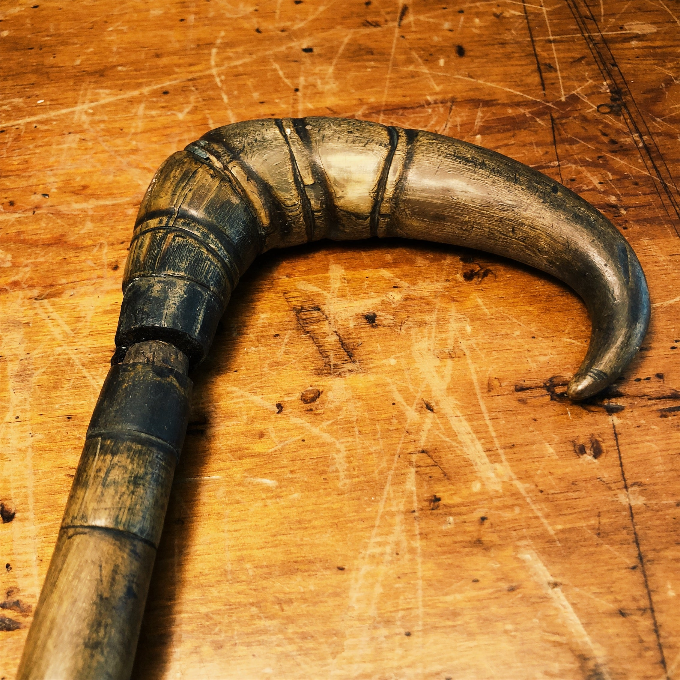 Antique Stacked Horn Walking Stick