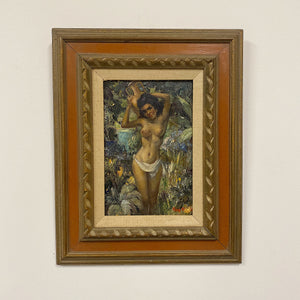 "Roy Keister Nude Painting titled ""Nina"" - 1950s? - Signed by Listed Artist - Vintage Knife Paintings - Illustration Artist - AS IS Pinup"